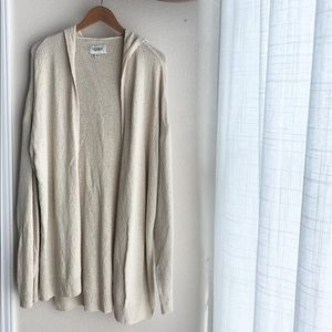 Pull & Bear Cream Cardigan With Hood Size L